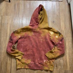 Boys Volcom Wasted Years Orange Tie Dye Hoodie, L
